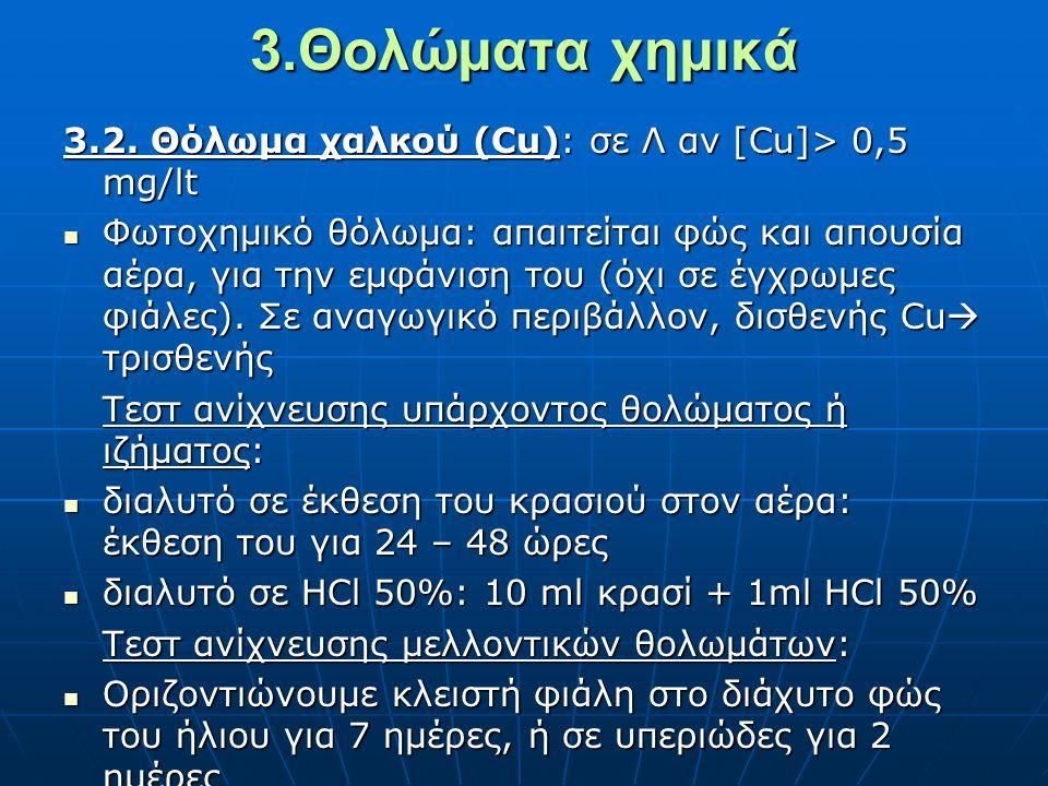 3.Θολώματα χημικά 3.2. Θόλωμα χαλκού (Cu): σε Λ αν [Cu]> 0,5 mg/lt
